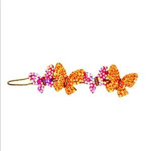 NWOT Pink & Orange Crystal Butterfly Barrettes!!